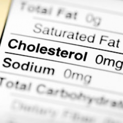 Food label showing 0 milligrams of cholesterol